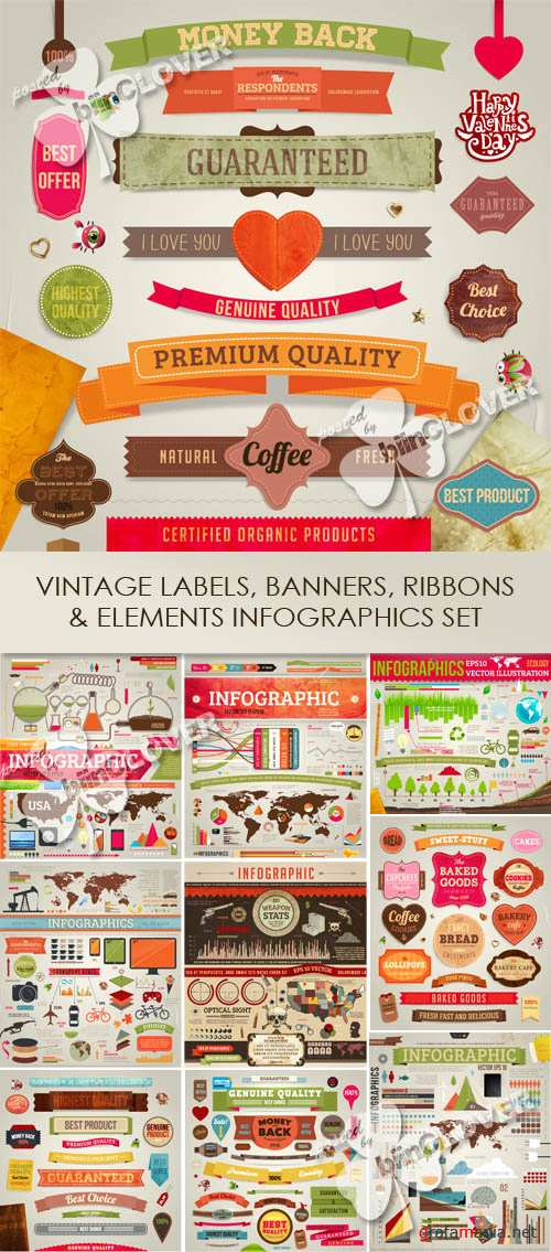 Vintage labels, banners, ribbons and elements infographics set 0543