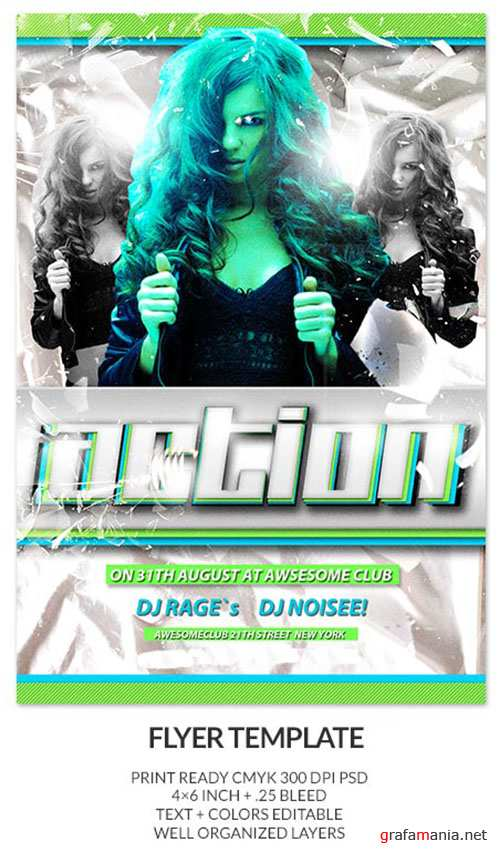 Action Club Party Flyer/Poster PSD Template