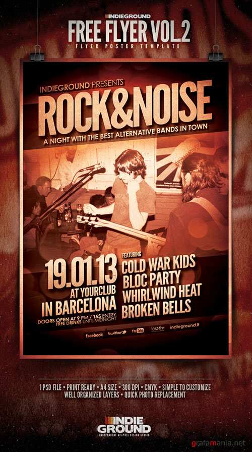 Indieground Party Flyer/Poster PSD Template #2