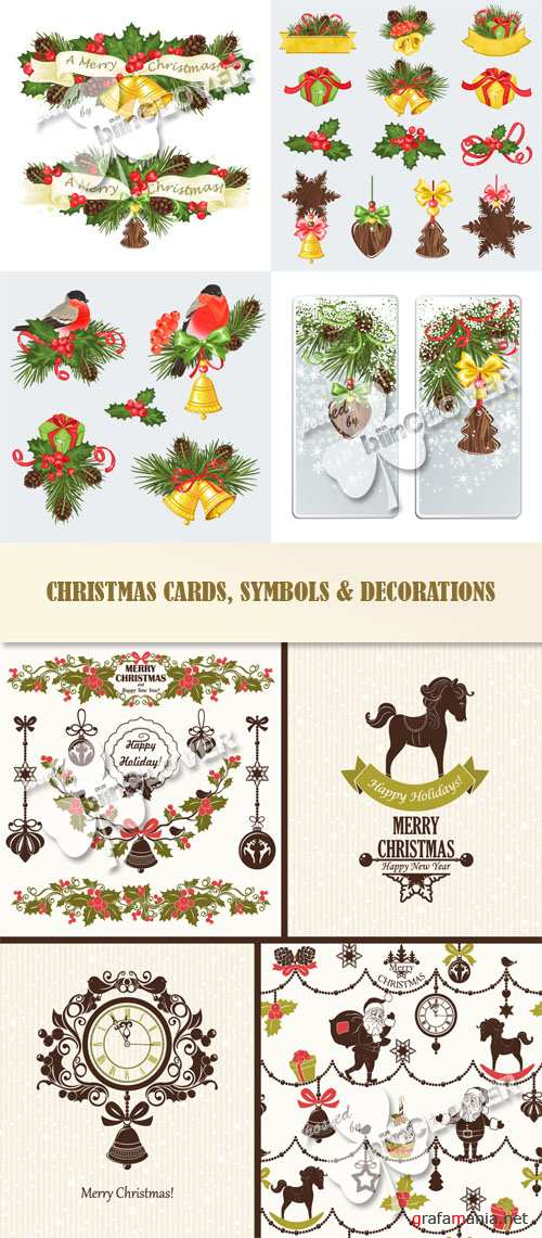 Christmas cards, symbols and decorations 0544