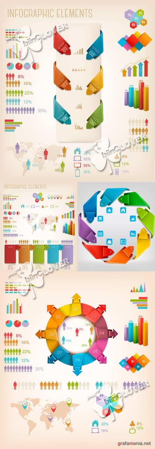 Infographics elements illustrations 0544