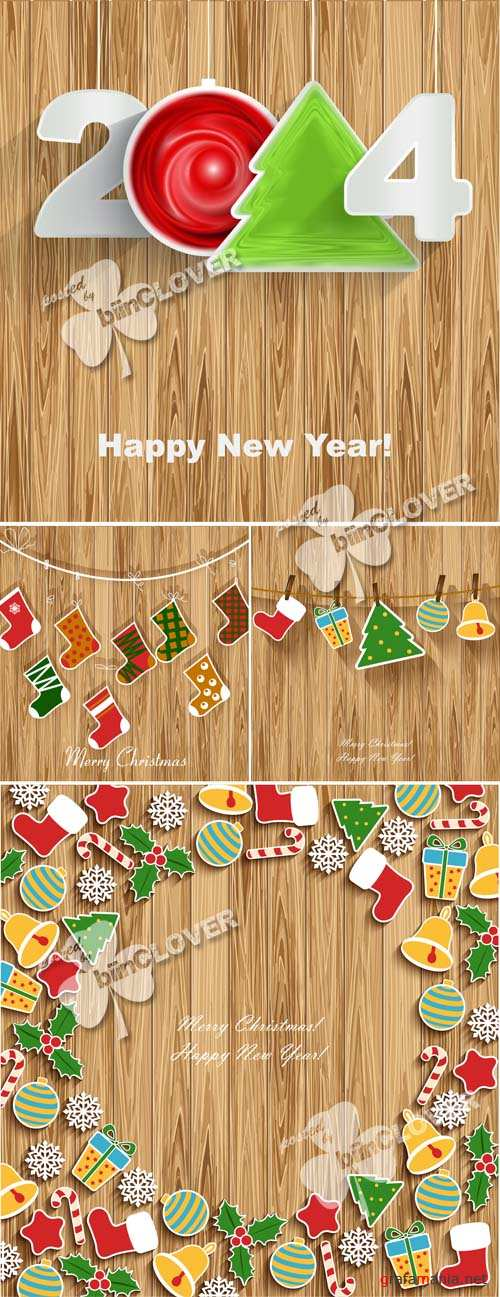 New Year 2014 on wood background 0544