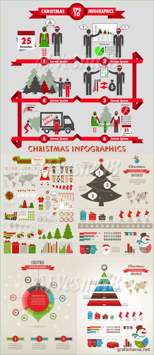 Christmas infographics, vector clipart