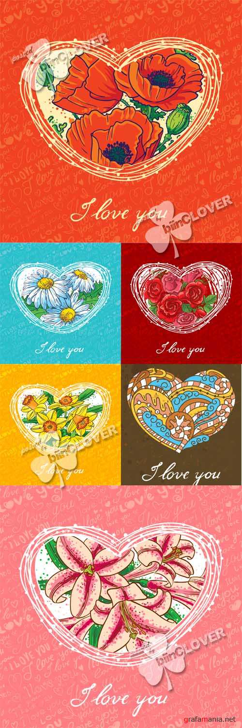 Cards with floral heart 0551