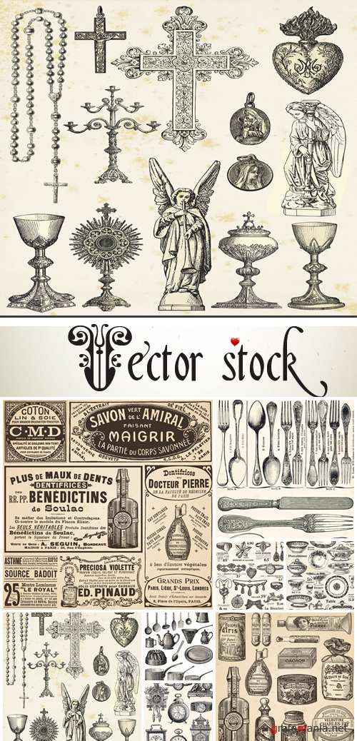 Big vintage collection of different obiects - vector stock