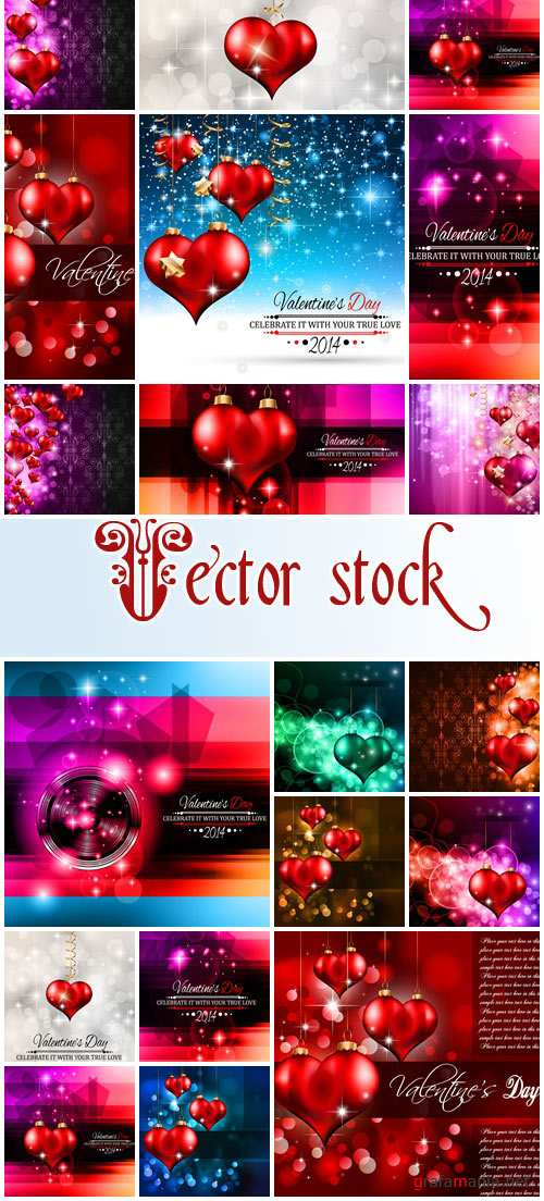 Vector collection for Valentines Day, 14 February, part 6