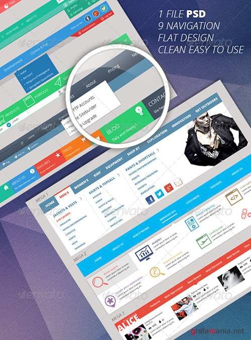 GraphicRiver - 9 Flat Multi And Mega Navigation Bars In PSD 6212195