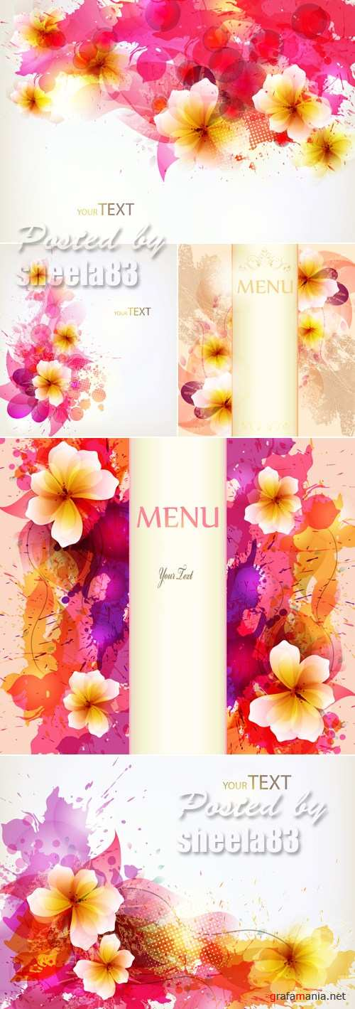 Abstract Backgrounds with Flowers Vector 2