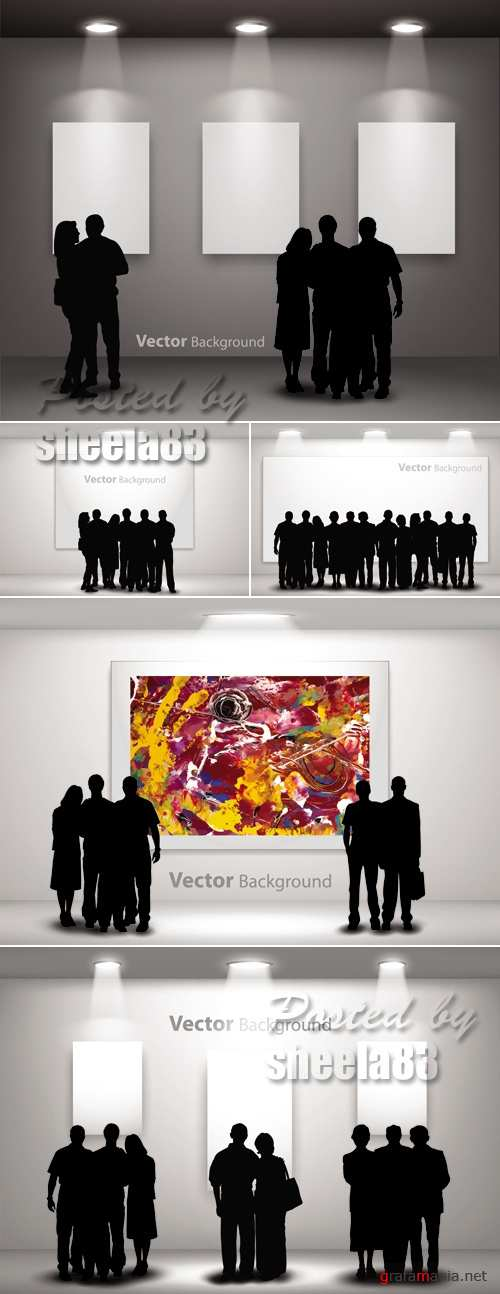 People in Gallery - Silhouettes Vector