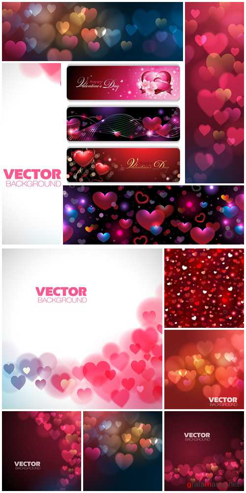 Holiday backgrounds for Valentines Day with hearts - vector stock