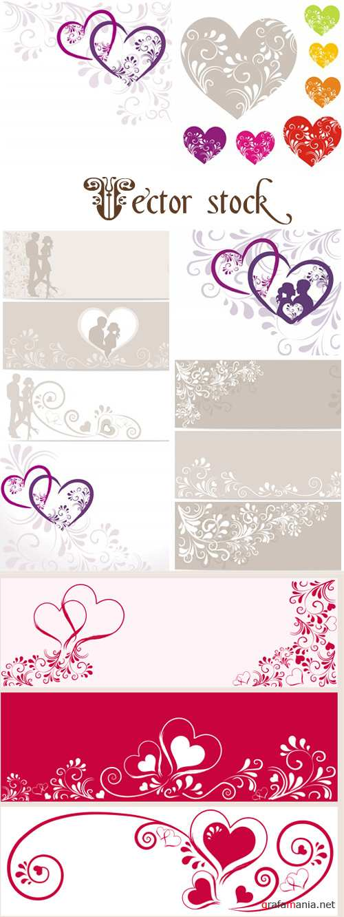 Romantic vintage backgrounds with hearts - vector stock