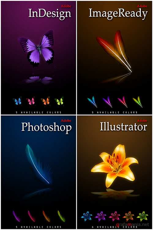 Colourful Feather, Butterfly and Flowers Icons for Photoshop REUPLOAD