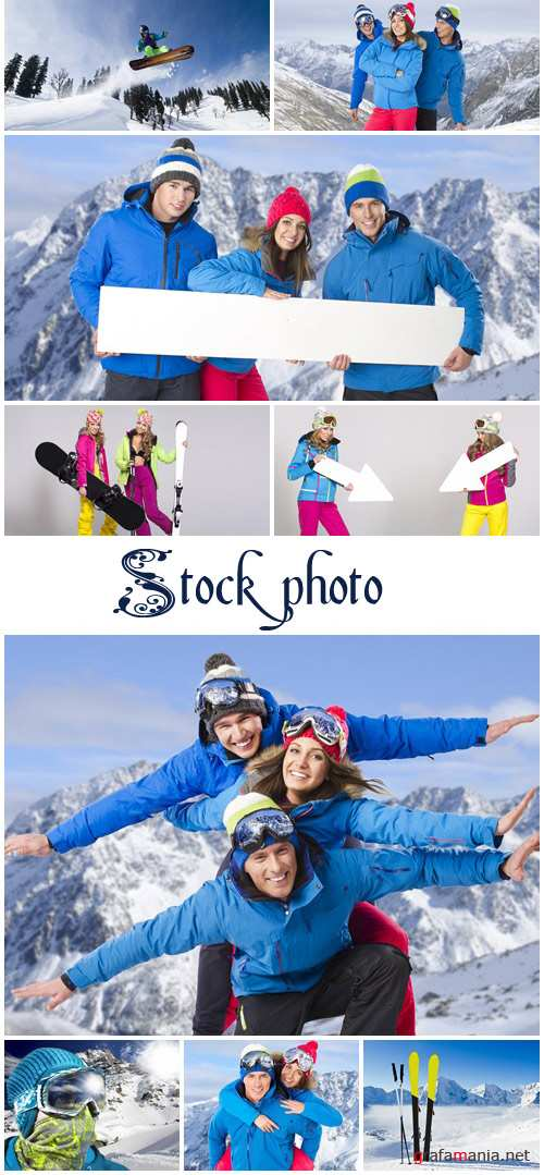Winter people and banners 5 - stock photo