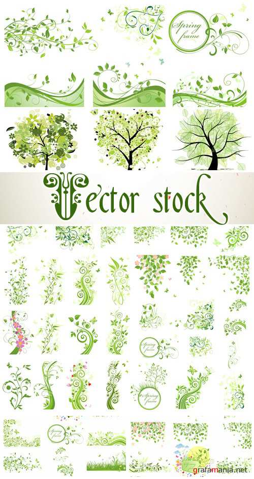 Spring vector elements and frames - vector stock