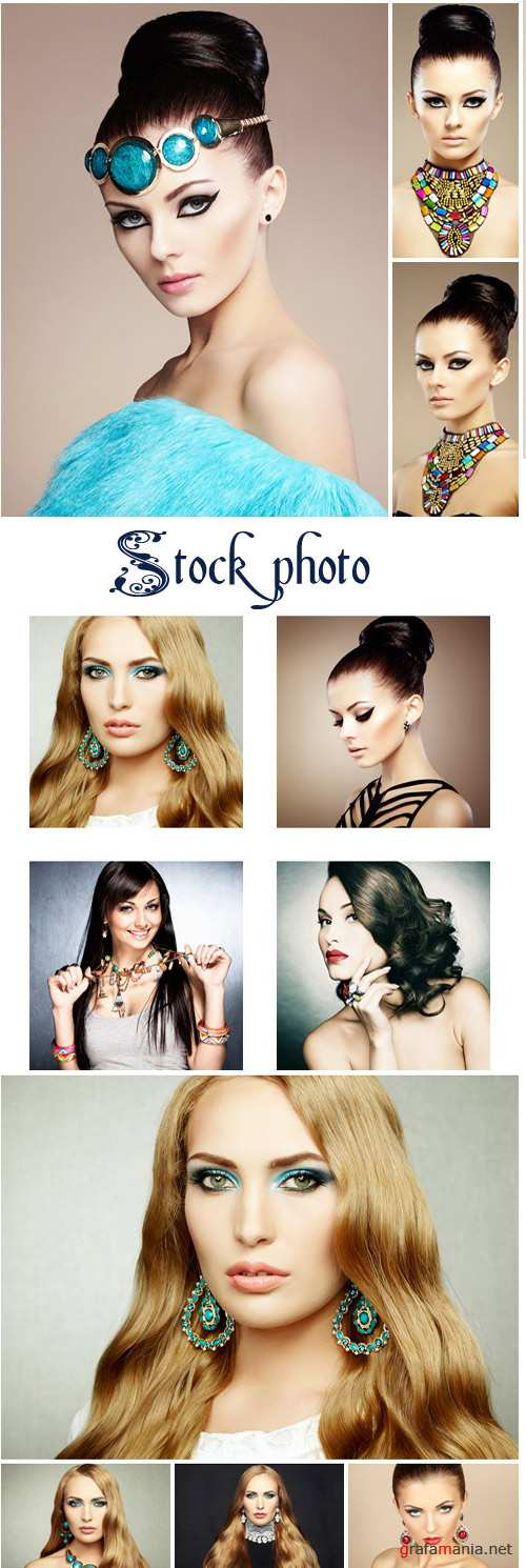 Photo of beautiful womans with magnificent hair. Perfect makeup - stock photo