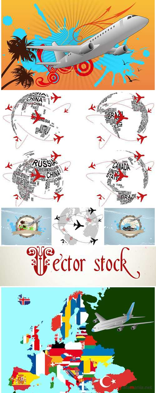 World airplane - vector stock