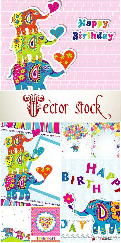 Vector backgrounds for happy birthday with elepfant - vector stock