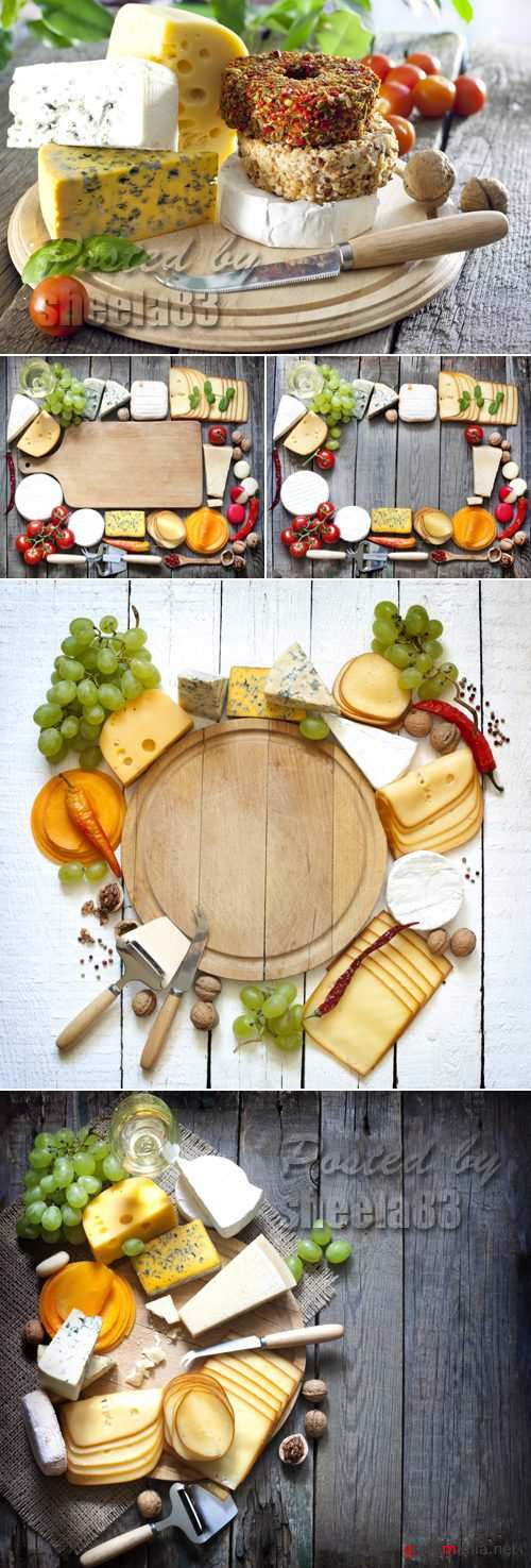 Stock Photo - Cheese on Wooden Background