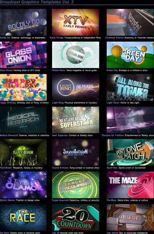 Broadcast Graphics Templates Vol. 2 - Project for After Effects