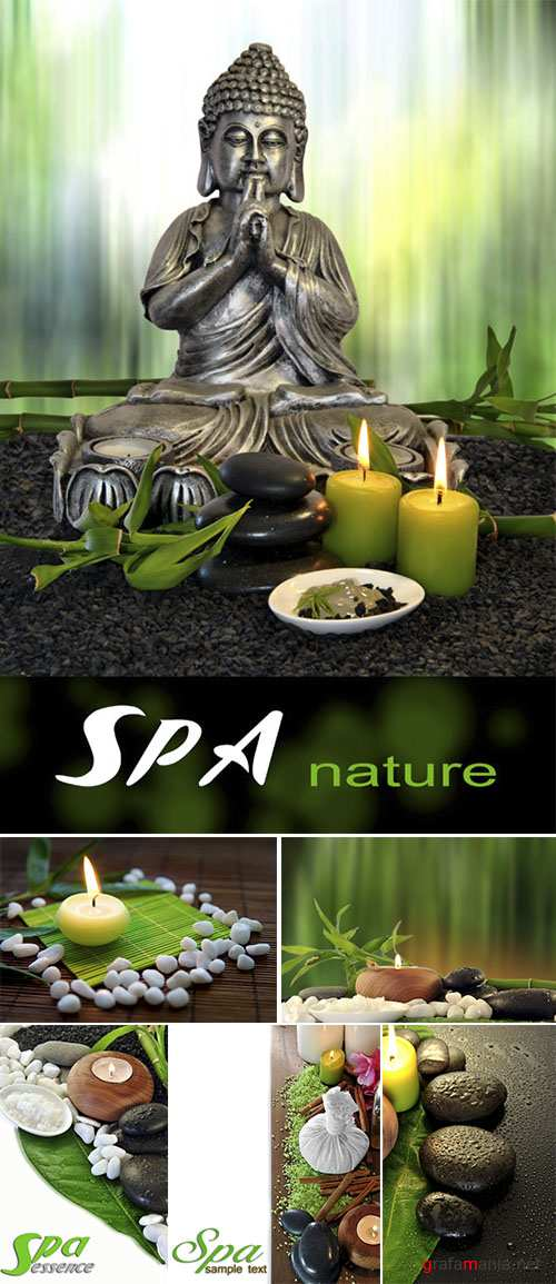 Stock Photo: Candles and stones for spa