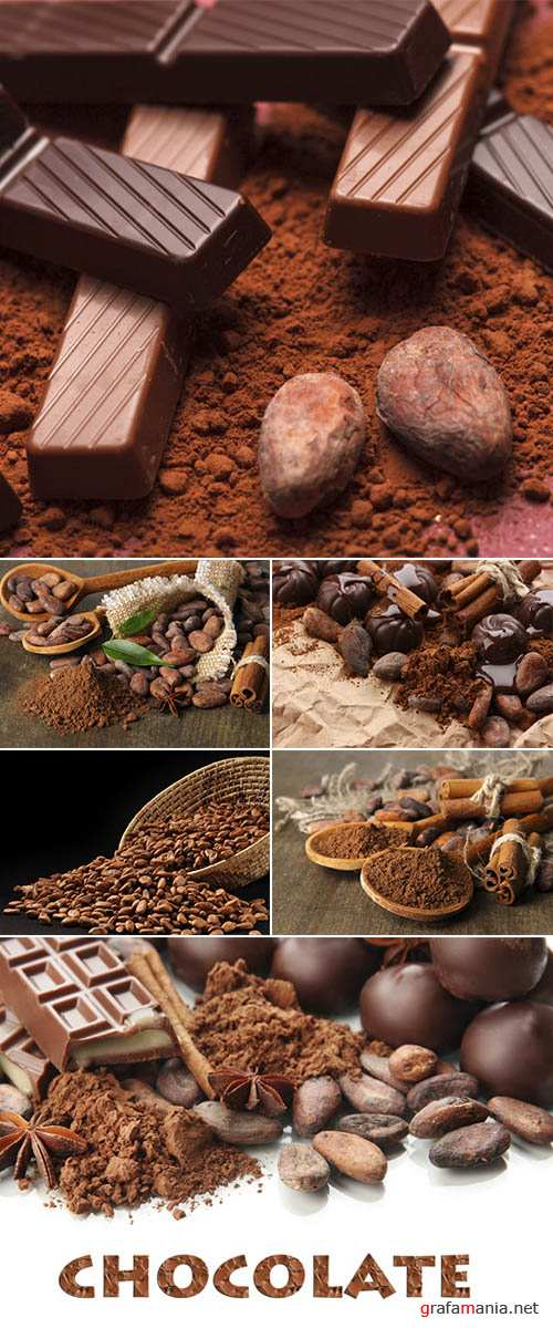 Stock Photo: Chocolate with cocoa beans