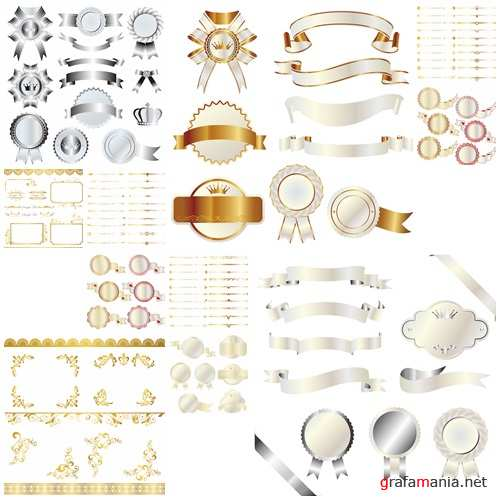 Vector decorative gold and silver frame and ornaments - vector stock