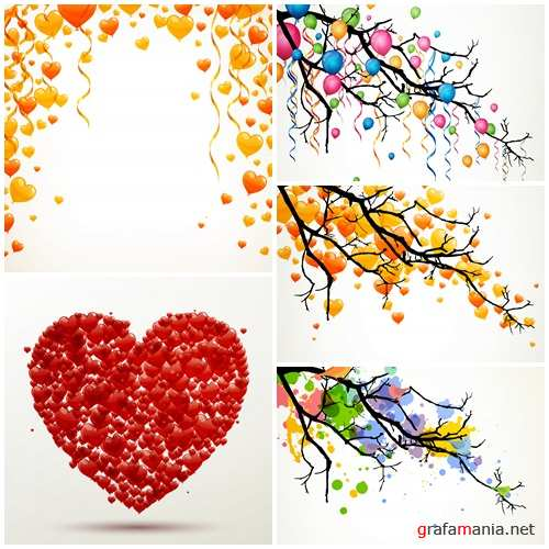 Vector backgrounds with hearts and ballons for holiday, 5 - vector stock