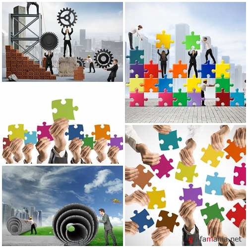 Business creative collage - stock photo