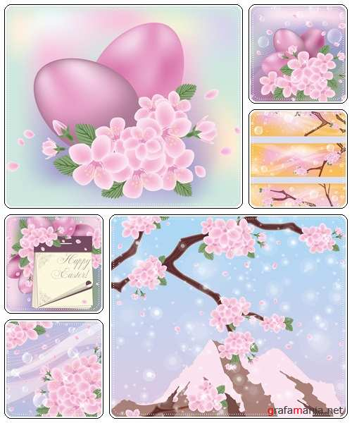 Set of spring and easter elements, 4  - vector stock