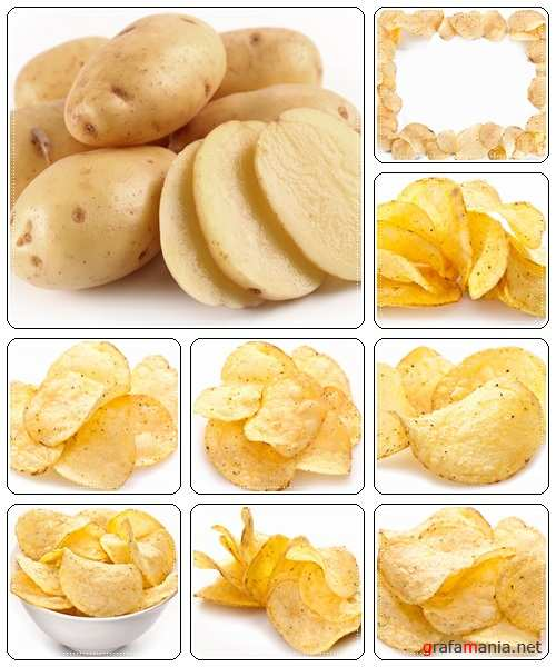 Chips from potato on white backgr - stock photo