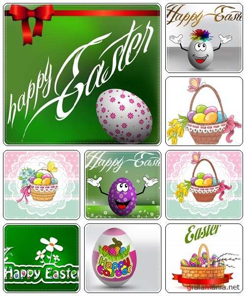 Set of spring and easter elements, 5  - vector stock