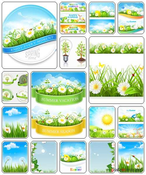 Spring, summer and easter backgrounds, 22  - vector stock