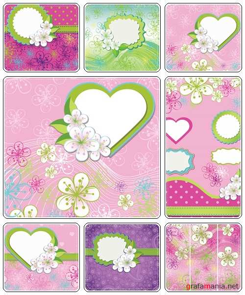 Floral Design for wedding template.Spring flowers,line background - vector stock