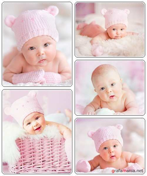 Portrait of cute newborn baby on a pink bed - stock photo