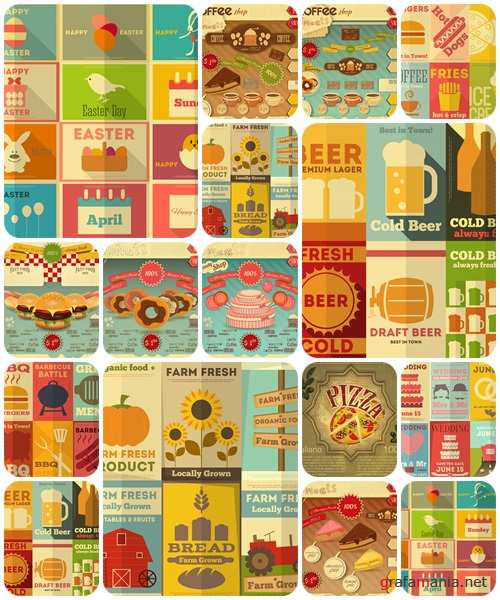 Vintage set for holiday and cooking  - vector stock