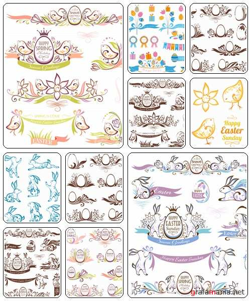 Set of spring and easter decorative emblems  - vector stock