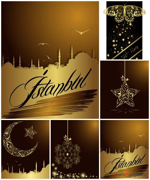 Silhouette of Istanbul in golden color - vector stock