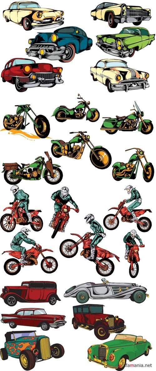 Cars and Bikes Vector Set