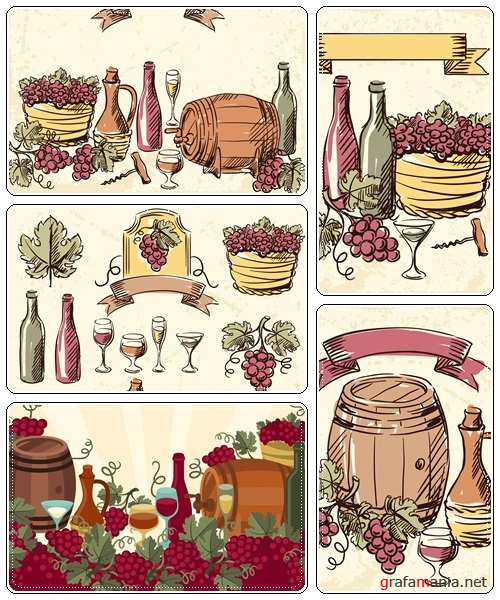 Wine bottles and grape hand drawn illustration  - vector stock