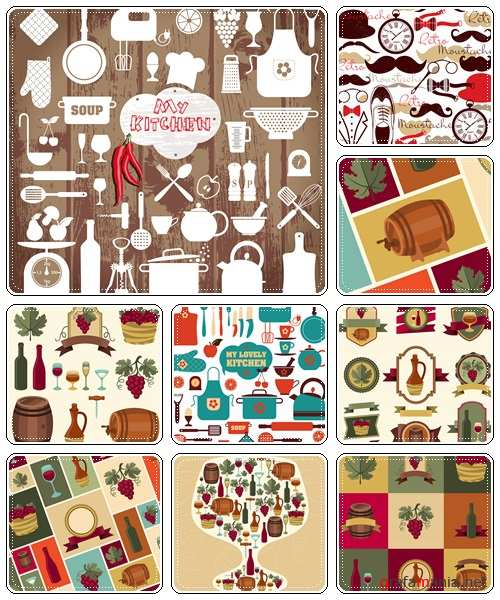 Wine and kitchen vintage hand drawn illustration  - vector stock