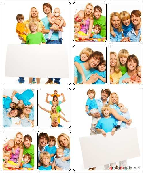 Beautiful happy family, isolated over a white background, 2 - stock photo