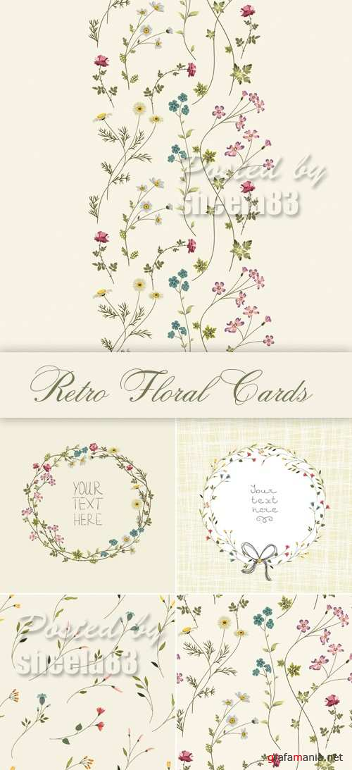 Retro Floral Backgrounds Vector 2