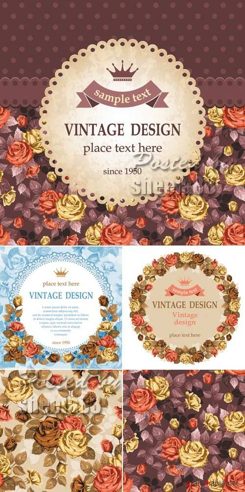 Vintage Backgrounds with Roses Vector 2
