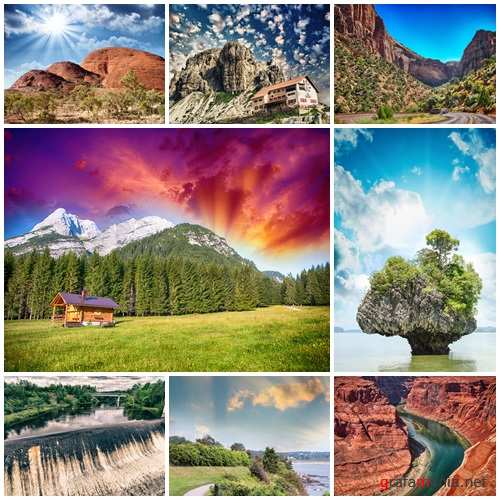 Nature and sunset photo collection - stock photo