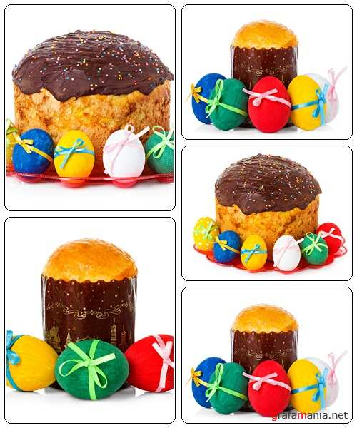 Easter cake and easter eggs  on white backgrounds - stock photo