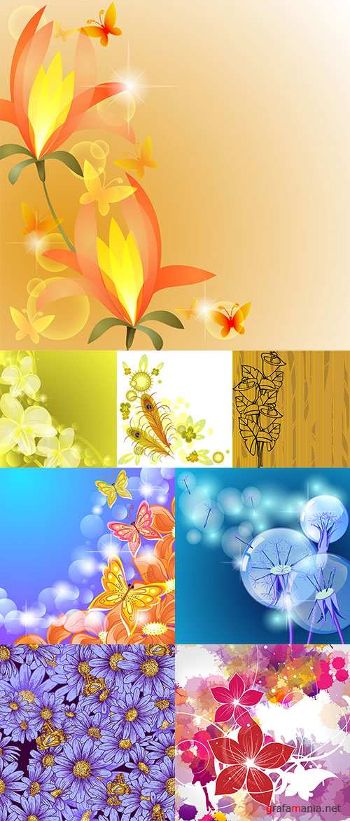 Stock: Floral backgrounds vector part 3