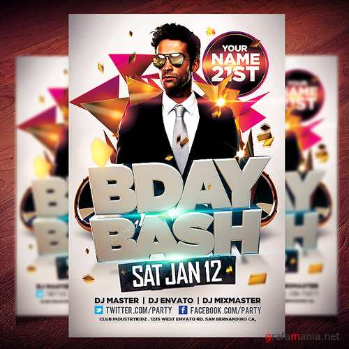 PSD  Template - Bday Bash Flyer