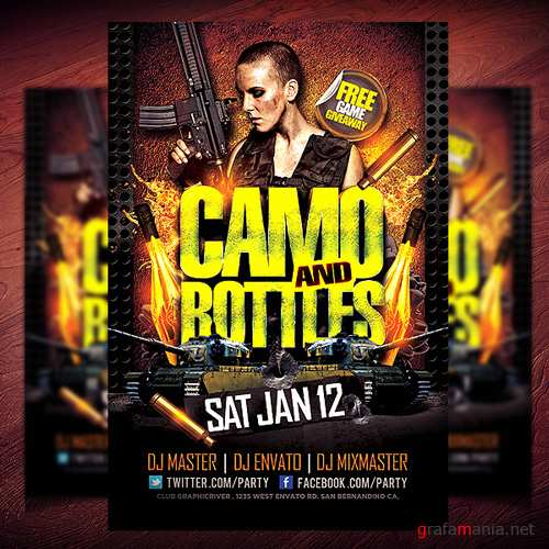 PSD Template - Camo and Bottles Flyer