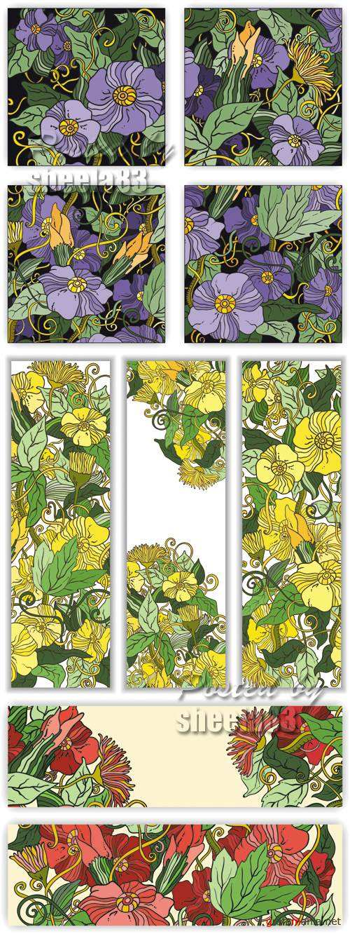 Sketch Floral Banners Vector