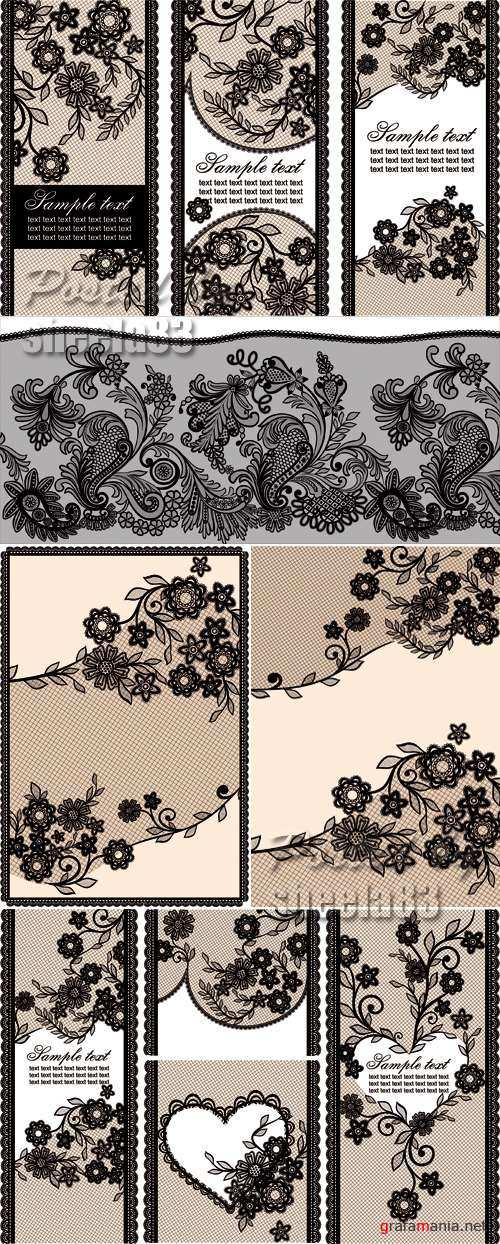 Lace Banners & Backgrounds Vector